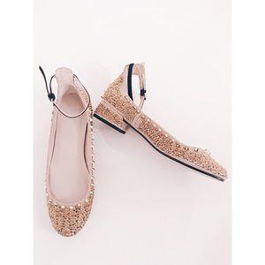 Zara Gold Spike Studded Flats